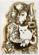 Small Brown Drawing (Multi Faced Girl with White Cat) - 2017, Ink and pencil on paper, 26x18 cm