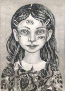 Young Girl - 36x26 cm, Tusch og blyant på papir, 2019