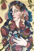 Bird Whisperer - 2020, 100x66 cm, syet collage: Akvarel og sytråd på japanpapir