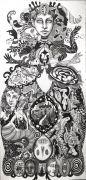 Primavera - 2020, 136x66 cm, Tusch på papir