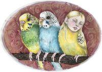 """Stuefugle - 2020, Akvarel på papir.  Fra udsmykningen """"Erindringsvæg"""""""