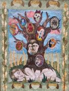 Family Tree - 2021, 115x87 cm., Syet papircollage: akvarel, tusch, sytråd, yume papir.