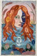 Siren -  2021, 80 x 51 cm., Syet papircollage: akvarel, tusch, sytråd, yume papir.