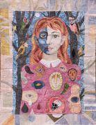 Status -  2021, 115x87 cm., Syet papircollage: akvarel, tusch, sytråd, yume papir.